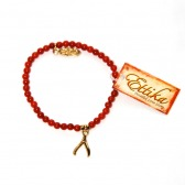 Wishbone Bead Bracelet (Gold/Red Coral)