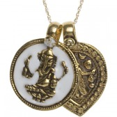 Ganesha & Goddess of Power Necklace (White/Gold)