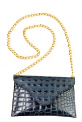 Croco Coin Purse/Bag (Navy)