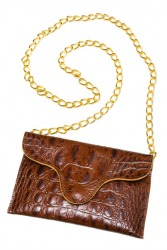 Croco Coin Purse/Bag (Brown)